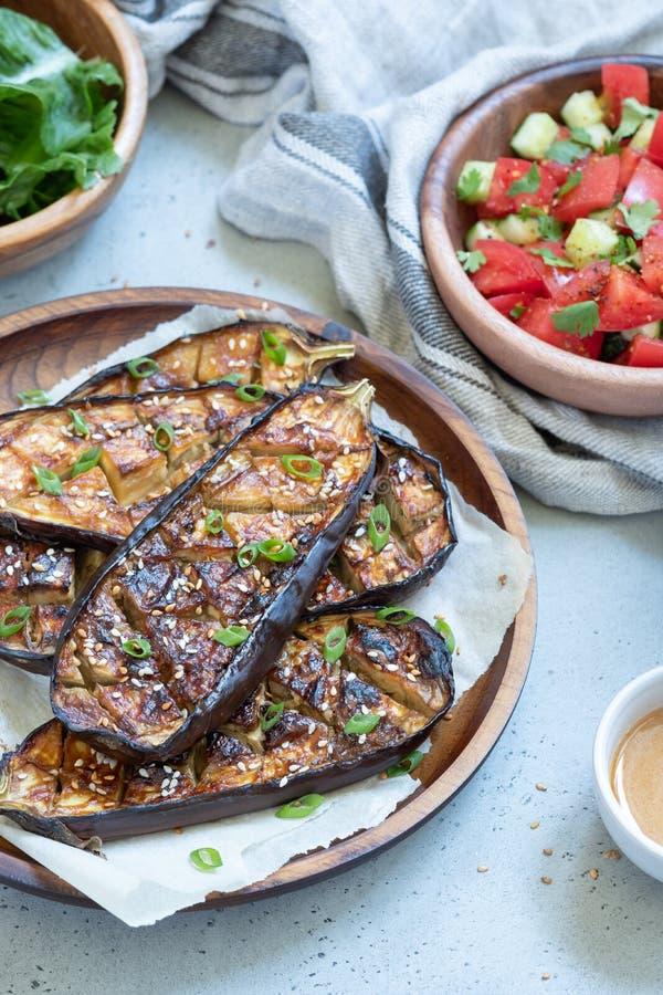 Geroosterde aubergine met Miso Glans, nasudengaku royalty-vrije stock afbeeldingen