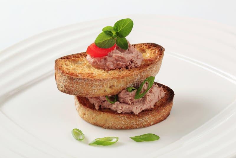 Geroosterde brood en pastei royalty-vrije stock foto