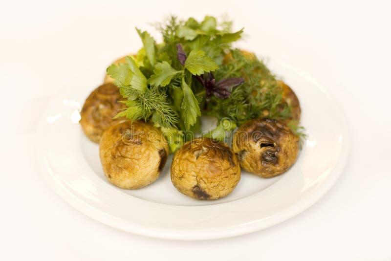 Geroosterde champignons stock foto