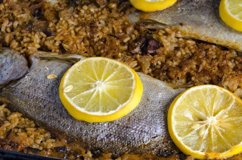 Geroosterde forelvis op rijst en citroenmoten bovenaan stock afbeelding