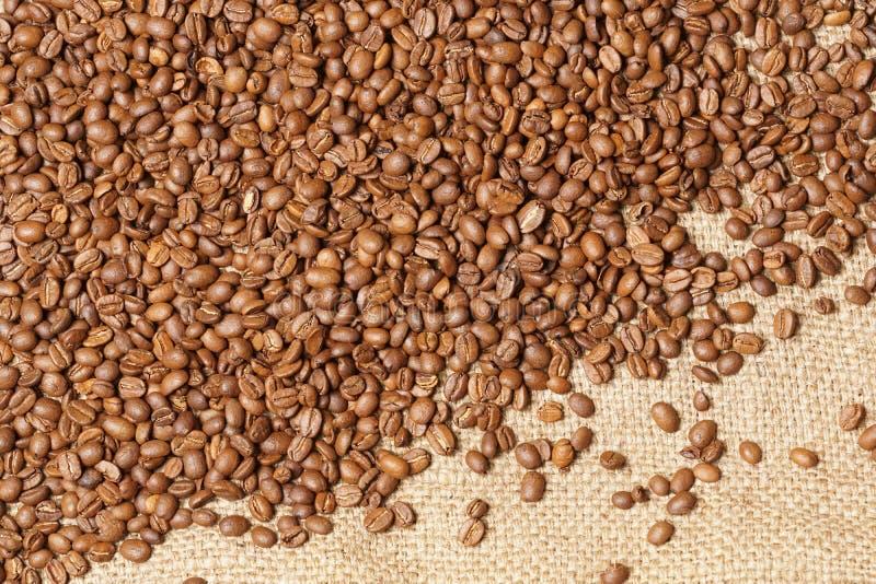 Geroosterde gemorste koffiebonen op juteachtergrond royalty-vrije stock fotografie