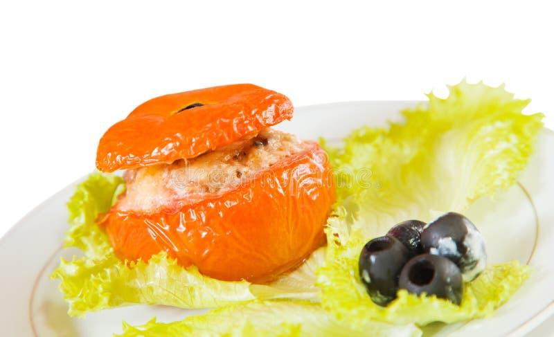 Geroosterde gevulde tomaat royalty-vrije stock afbeeldingen