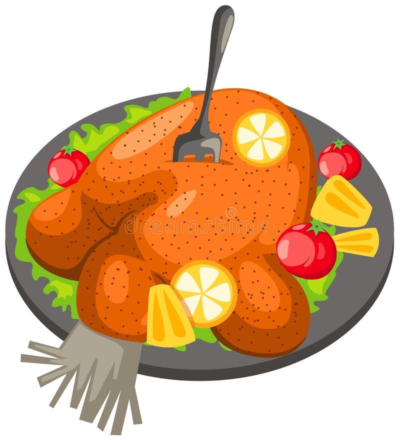 Geroosterde kip in een plaat met citroen royalty-vrije illustratie
