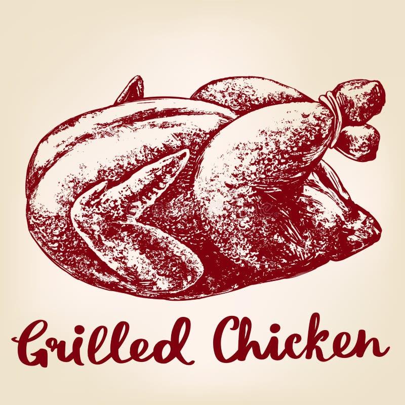 Geroosterde kip, het vlees van Turkije, realistische schets van de barbecue de hand getrokken vectorillustratie vector illustratie