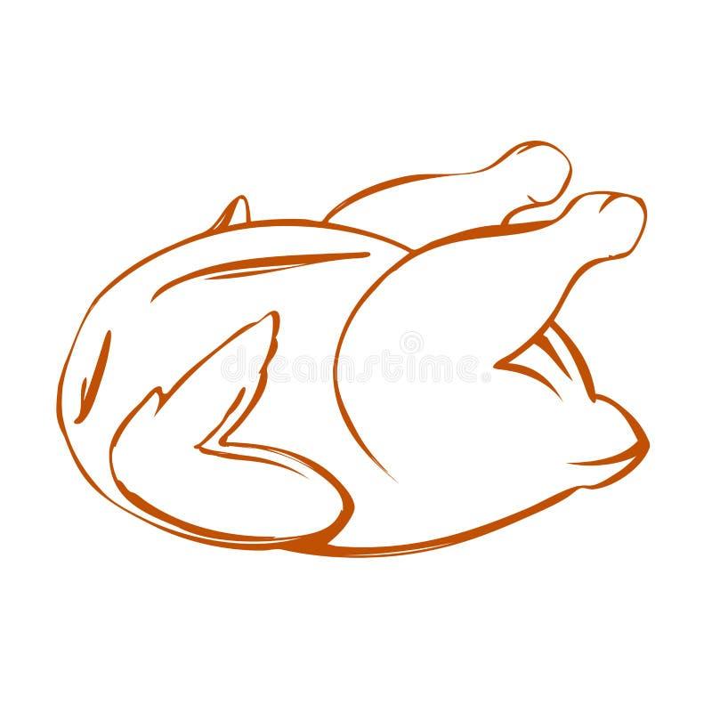 Geroosterde kip, het vlees van Turkije, symbool van de barbecue het hand getrokken vectorillustratie royalty-vrije illustratie