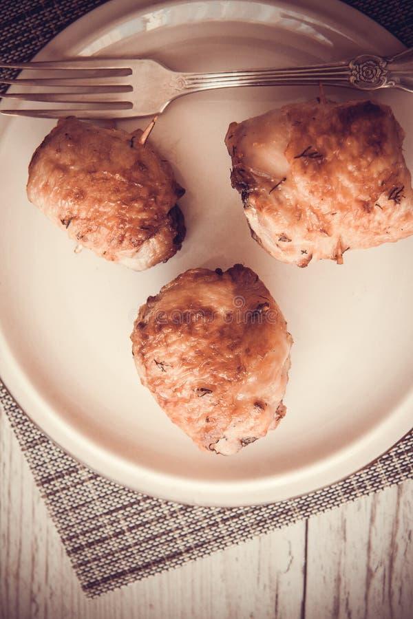 Geroosterde kippenbroodjes stock afbeelding