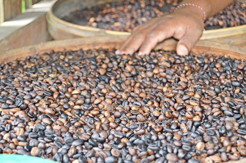 Geroosterde koffie Hoe de koffie wordt geroosterd royalty-vrije stock afbeelding
