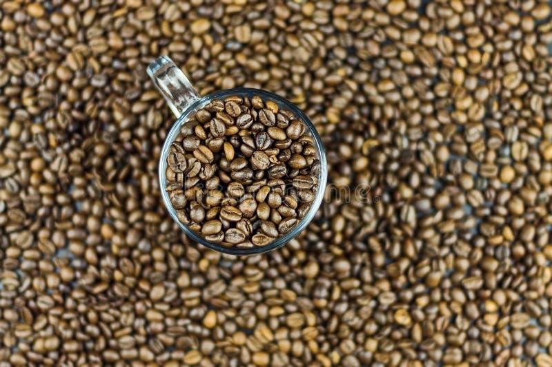 Geroosterde koffiebonen in een glaskop Bruine koffiebonen Achtergrond textuur close-up Natuurlijke achtergrond stock afbeelding