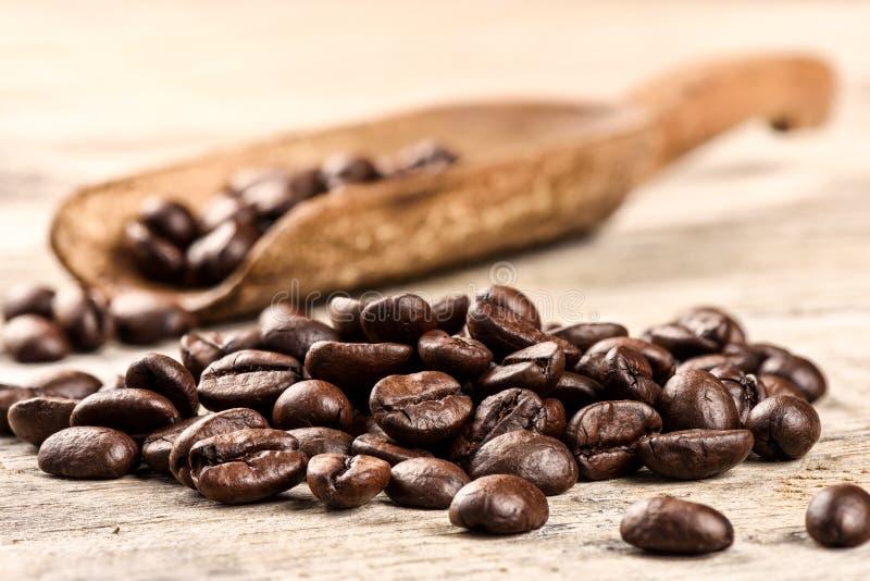 Geroosterde koffiebonen met oude houten lepel stock fotografie
