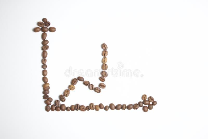 Geroosterde korrels van zwarte koffie royalty-vrije stock foto