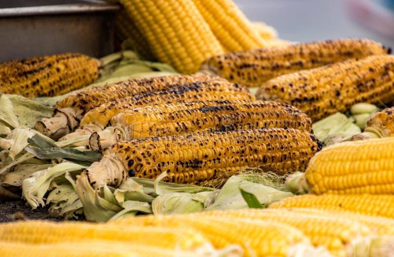 Geroosterde maïskolven stock foto's