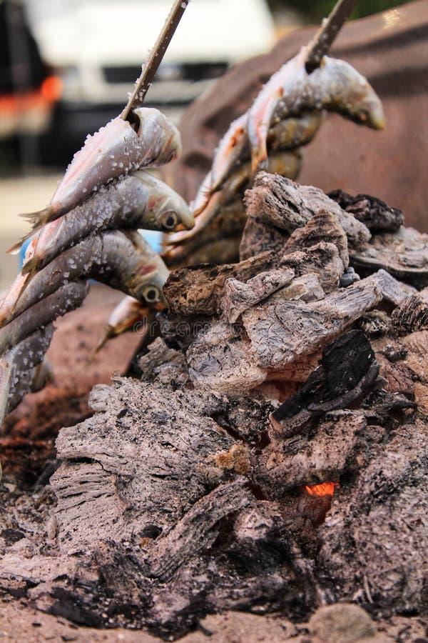 Geroosterde sardines op een spit in zuidelijk Spanje royalty-vrije stock fotografie