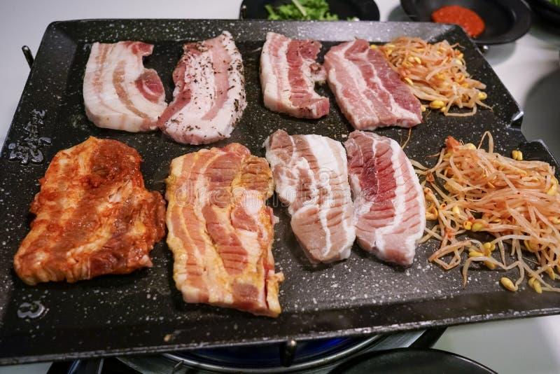 Geroosterde varkensvleesbuik Samgyeopsal royalty-vrije stock afbeeldingen