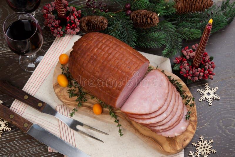 Geroosterde Verglaasde Kerstmisham royalty-vrije stock afbeelding