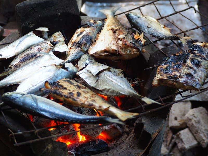 Geroosterde vissen op houtskoolfornuis stock foto's