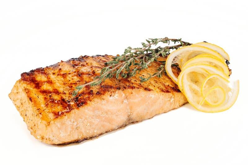 Geroosterde vissen, zalmlapje vlees royalty-vrije stock afbeeldingen
