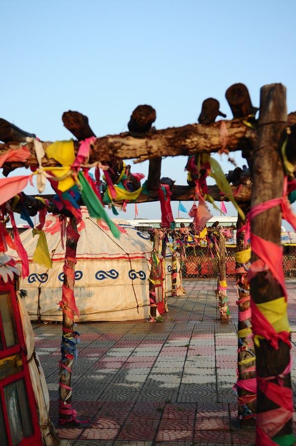 gers蒙古游牧人yurt 库存照片