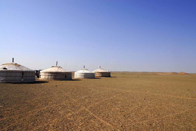 Gers in the Gobi Desert, Mongolia stock image