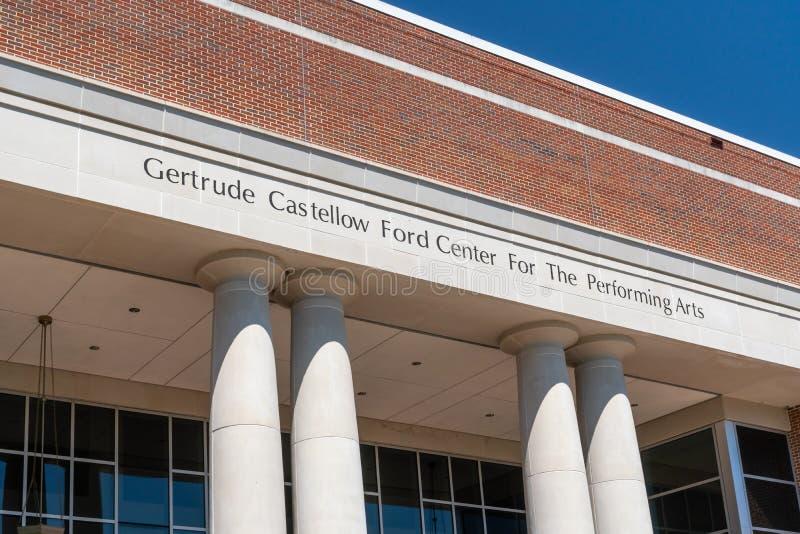 Gertrude Castellow Ford Center For las artes interpretativas imagen de archivo libre de regalías