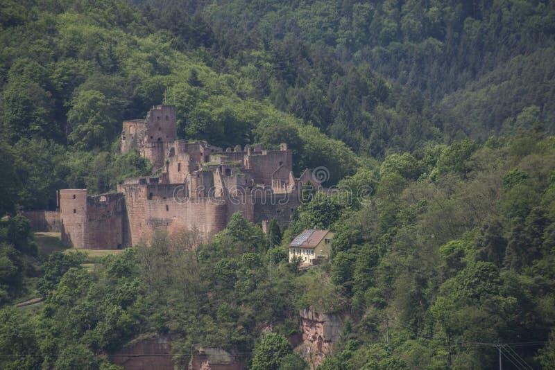 geruïneerd Duits kasteel in meest forrest berglandschap stock afbeelding