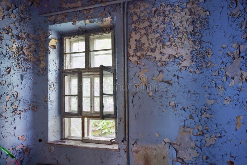 Geruïneerd oud van het deurvenster stock foto's