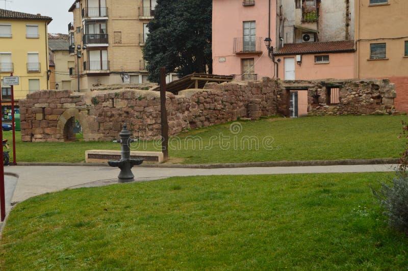 Geruïneerde Muren van Oude Najera Alcazar Architectuur, Reis, geschiedenis stock fotografie