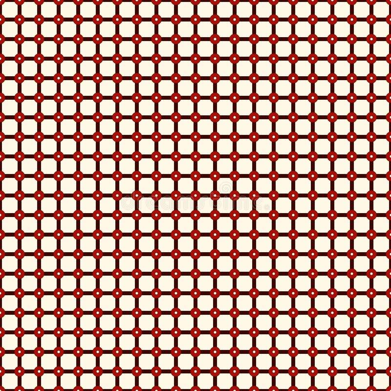 Geruit naadloos patroon Netwerkmotief Rode kleuren geometrische abstracte achtergrond met overlappende strepen met knoop vector illustratie