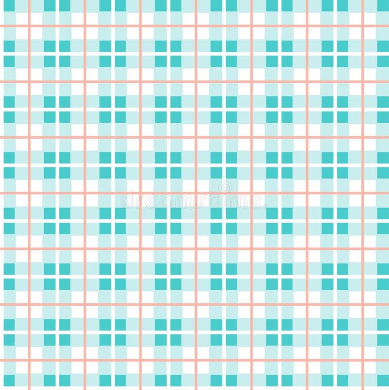 Geruit patroon, kleine vierkanten, naadloos patroon, blauw en wit, vector stock illustratie