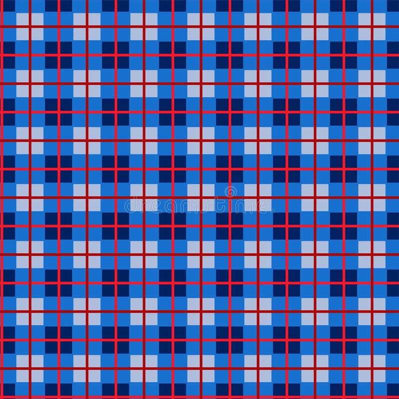 Geruit patroon, kleine vierkanten, naadloos patroon, blauw, vector vector illustratie