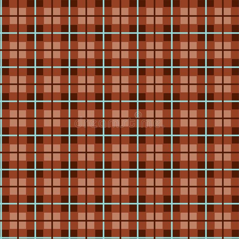 Geruit patroon, kleine vierkanten, naadloos bruin patroon, vector vector illustratie