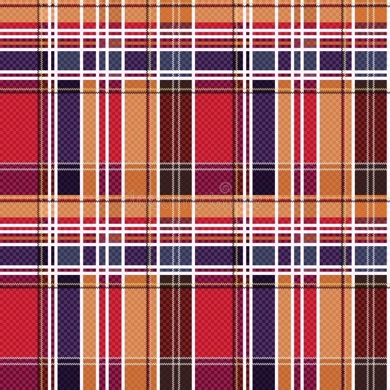Geruit Schots wollen stof naadloze textuur hoofdzakelijk in rode en blauwe tinten stock illustratie