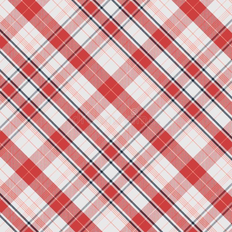 Geruit Schots wollen stofpatroon in Rood en Wit vector illustratie
