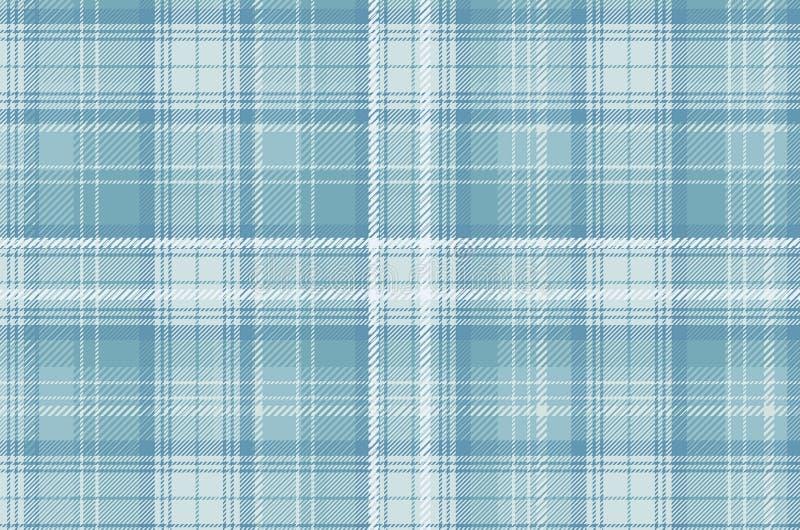 Geruit Schots wollen stofplaid Schots patroon in blauwe witte kooi Traditionele Schotse gecontroleerde achtergrond stock illustratie