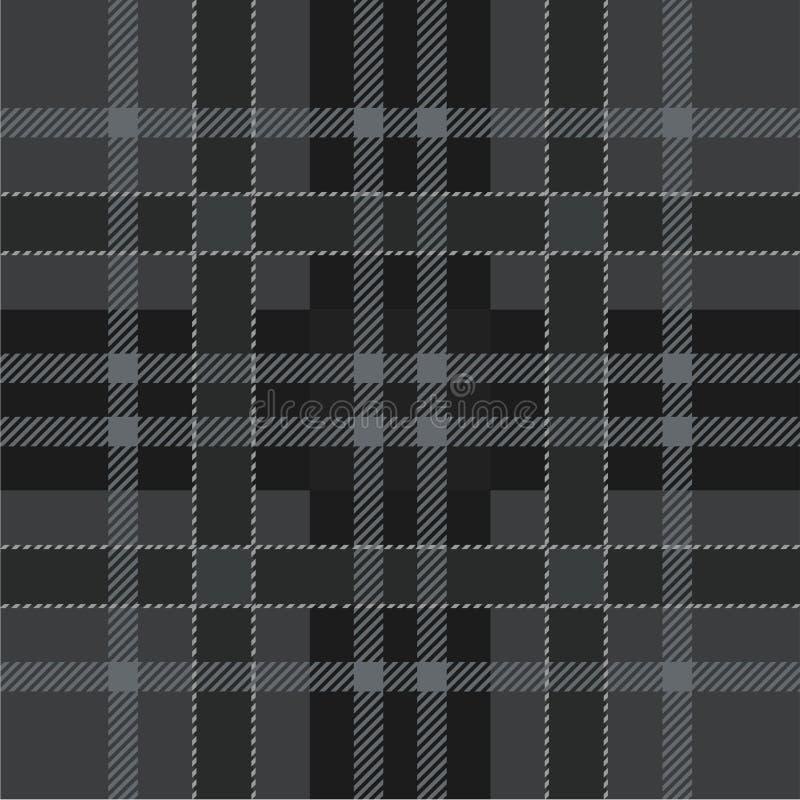 Geruit Schots wollen stofplaid Schots patroon in zwarte en grijze kooi Traditionele Schotse geruite achtergrond vector illustratie