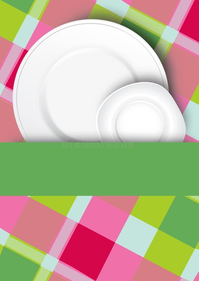 Geruite achtergrond en platen stock illustratie