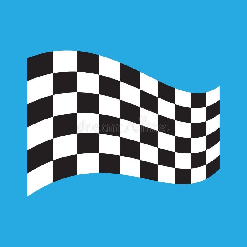Geruite die het Rennen vlag op blauw wordt ge?soleerd stock illustratie