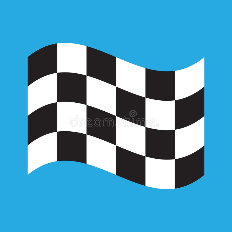 Geruite die het Rennen vlag op blauw wordt ge?soleerd royalty-vrije illustratie