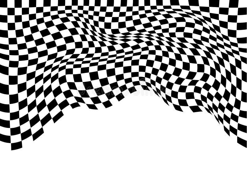 Geruite die vlaggolf zwart-wit op wit voor het kampioenschaps van het bedrijfs sportras achtergrondvector wordt geïsoleerd vector illustratie