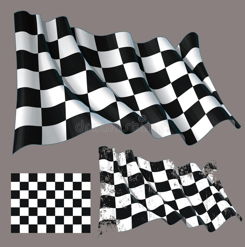 Geruite het ras beëindigt Golvende Vlag stock illustratie