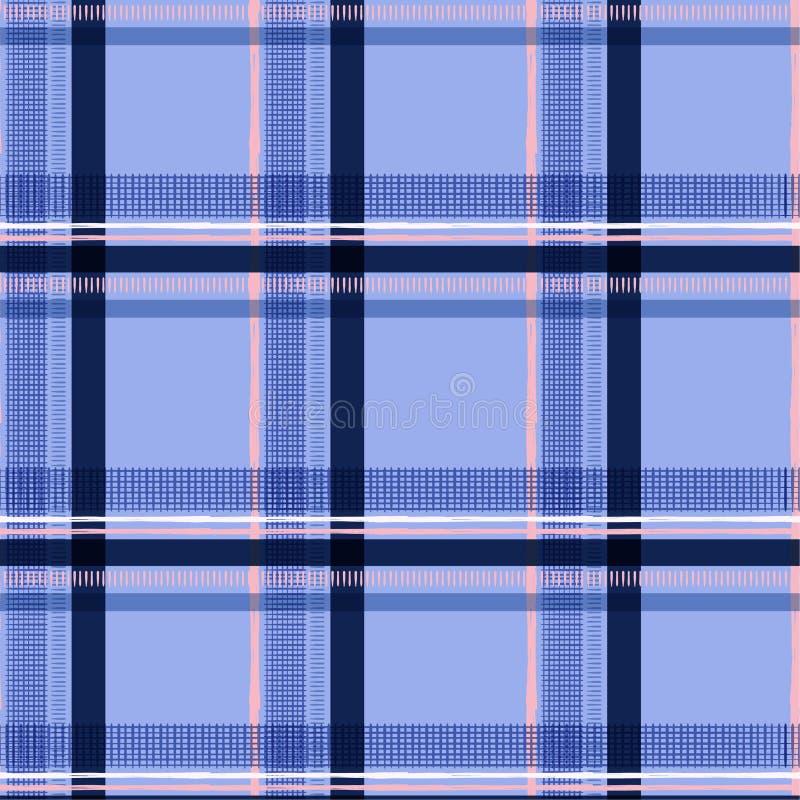 Geruite Schots wollen stof van de het venstercontrole van de de zomer het zoete kleur op lichtblauwe kleur backg vector illustratie