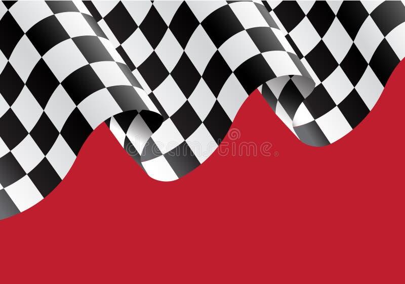 Geruite vlag die op rode vector vliegen stock illustratie