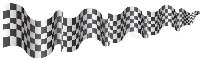 Geruite vlag lange grootte die op witte vector vliegen als achtergrond vector illustratie