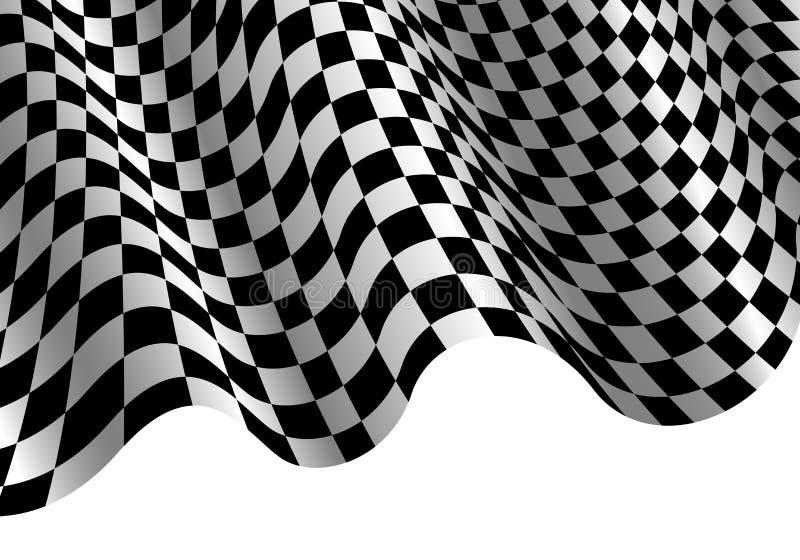 Geruite vlag vliegende golf op witte van het het raskampioenschap van de ontwerpsport vector als achtergrond vector illustratie
