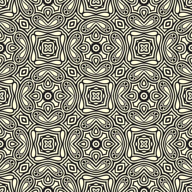 Gerundete Blumen entwerfen nahtlose Musterhintergrundillustration in schwarzem n-Weiß vektor abbildung