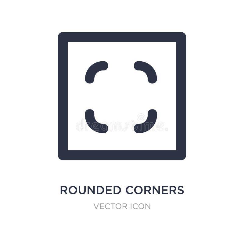 gerundete Ecken quadrieren Ikone auf weißem Hintergrund Einfache Elementillustration von UI-Konzept stock abbildung