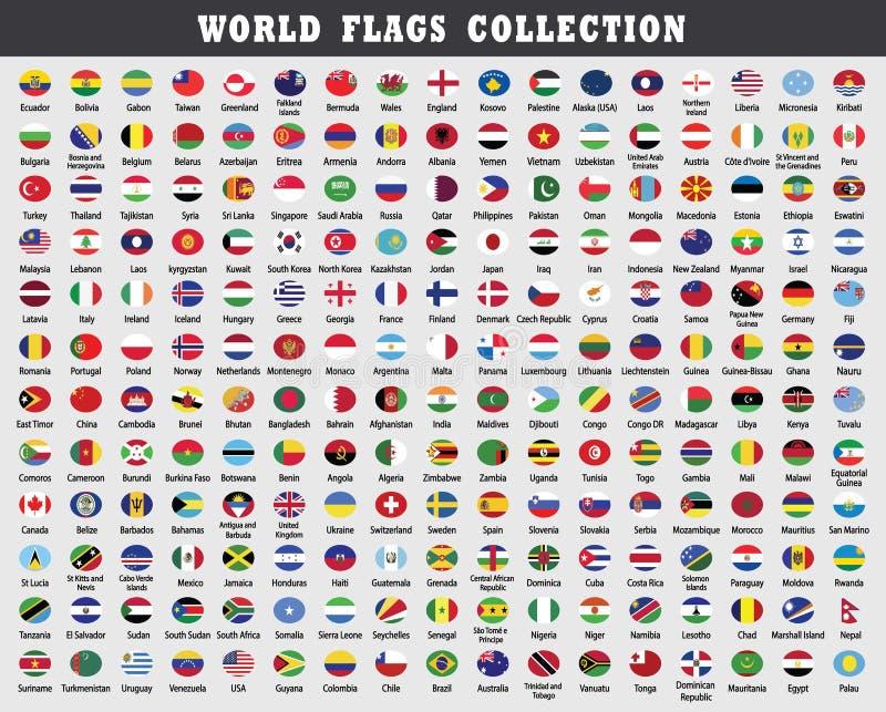 Gerundete Weltflaggen Sammlung stock abbildung