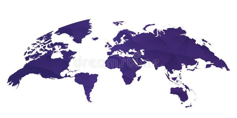 Gerundete Weltkarte auf weißem Hintergrund in der ultravioletten Farbe stock abbildung