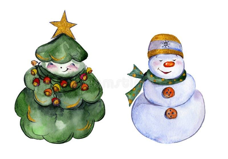 Gerundeter lächelnder Weihnachtsbaum und Schneemann mit goldenen Details über weißen Hintergrund vektor abbildung