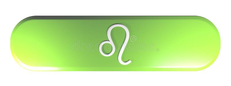 Gerundeter Rechteckdruckknopf TIERKREIS-LÖWE-IKONE Grün - Illustration der Wiedergabe 3D stock abbildung