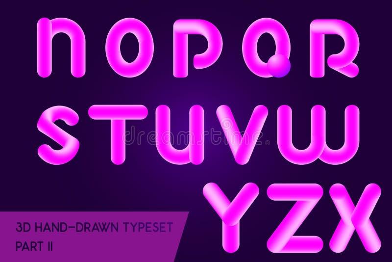 Gerundeter Schlagzeilenguß des Neons 3D Ganz eigenhändig geschriebe gemalte Buchstabearten vektor abbildung